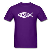 Load image into Gallery viewer, Jesus Fish Tee Dark - purple