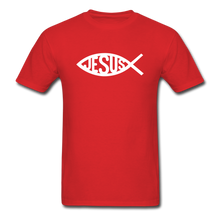 Load image into Gallery viewer, Jesus Fish Tee Dark - red
