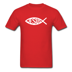 Jesus Fish Tee Dark - red