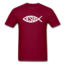 Load image into Gallery viewer, Jesus Fish Tee Dark - burgundy