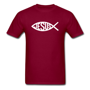 Jesus Fish Tee Dark - burgundy