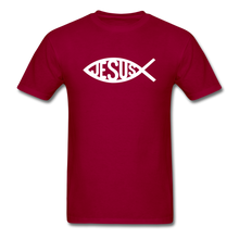 Load image into Gallery viewer, Jesus Fish Tee Dark - dark red