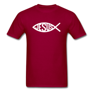 Jesus Fish Tee Dark - dark red