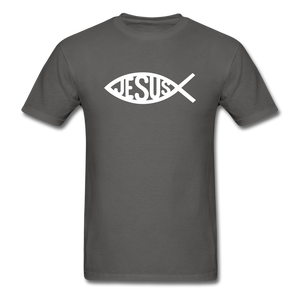 Jesus Fish Tee Dark - charcoal