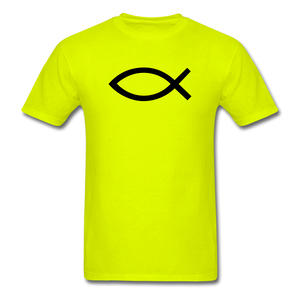 Blank Jesus Fish Bright - safety green