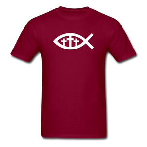 Three Crosses Tee Dark - burgundy