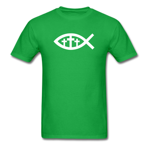 Three Crosses Tee Dark - bright green