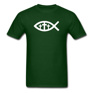 Three Crosses Tee Dark - forest green