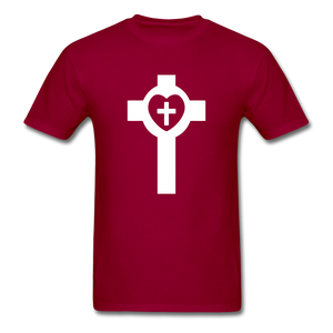 Lutheran Cross tee Dark - dark red