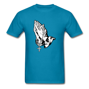 Praying Hands Tee Bright - turquoise
