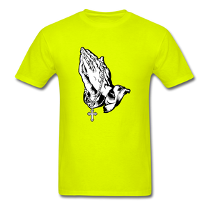 Praying Hands Tee Bright - safety green