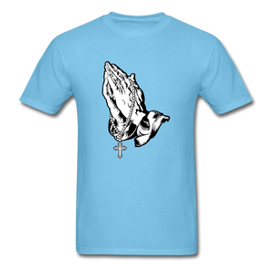 Praying Hands Tee Bright - aquatic blue