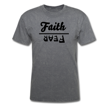 Load image into Gallery viewer, Faith over Fear Mineral Tee - mineral charcoal gray