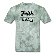 Load image into Gallery viewer, Faith over Fear Mineral Tee - military green tie dye