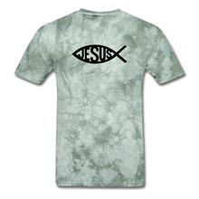 Load image into Gallery viewer, Jesus Fish Mineral Tee - military green tie dye