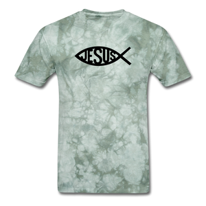 Jesus Fish Mineral Tee - military green tie dye