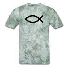 Load image into Gallery viewer, Blank Jesus Fish Mineral Tee - military green tie dye