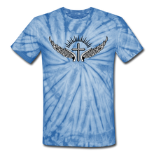 Load image into Gallery viewer, Winged Cross Tie Dye Tee - spider baby blue
