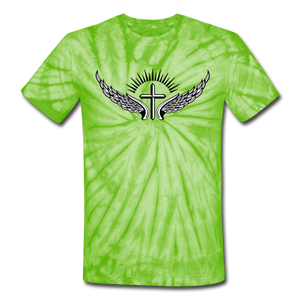 Winged Cross Tie Dye Tee - spider lime green