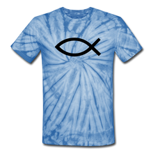 Load image into Gallery viewer, Blank Jesus Fish Tie Dye Tee - spider baby blue
