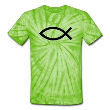 Load image into Gallery viewer, Blank Jesus Fish Tie Dye Tee - spider lime green
