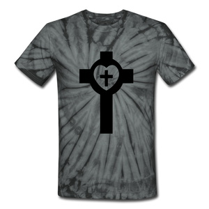 Lutheran Cross Tie Dye Tee - spider black