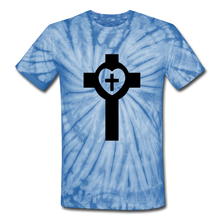 Load image into Gallery viewer, Lutheran Cross Tie Dye Tee - spider baby blue