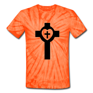 Lutheran Cross Tie Dye Tee - spider orange