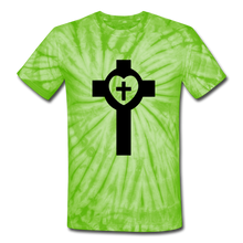 Load image into Gallery viewer, Lutheran Cross Tie Dye Tee - spider lime green