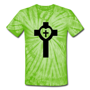 Lutheran Cross Tie Dye Tee - spider lime green