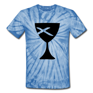 Communion Cup Tie Dye Tee - spider baby blue