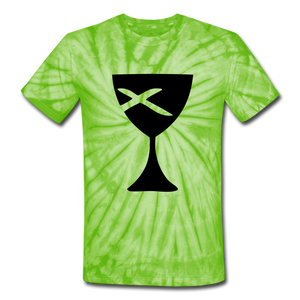 Communion Cup Tie Dye Tee - spider lime green