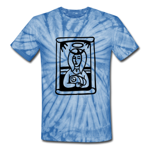 Mother Mary Tie Dye Tee - spider baby blue