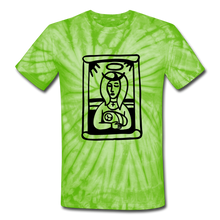Load image into Gallery viewer, Mother Mary Tie Dye Tee - spider lime green