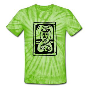 Mother Mary Tie Dye Tee - spider lime green