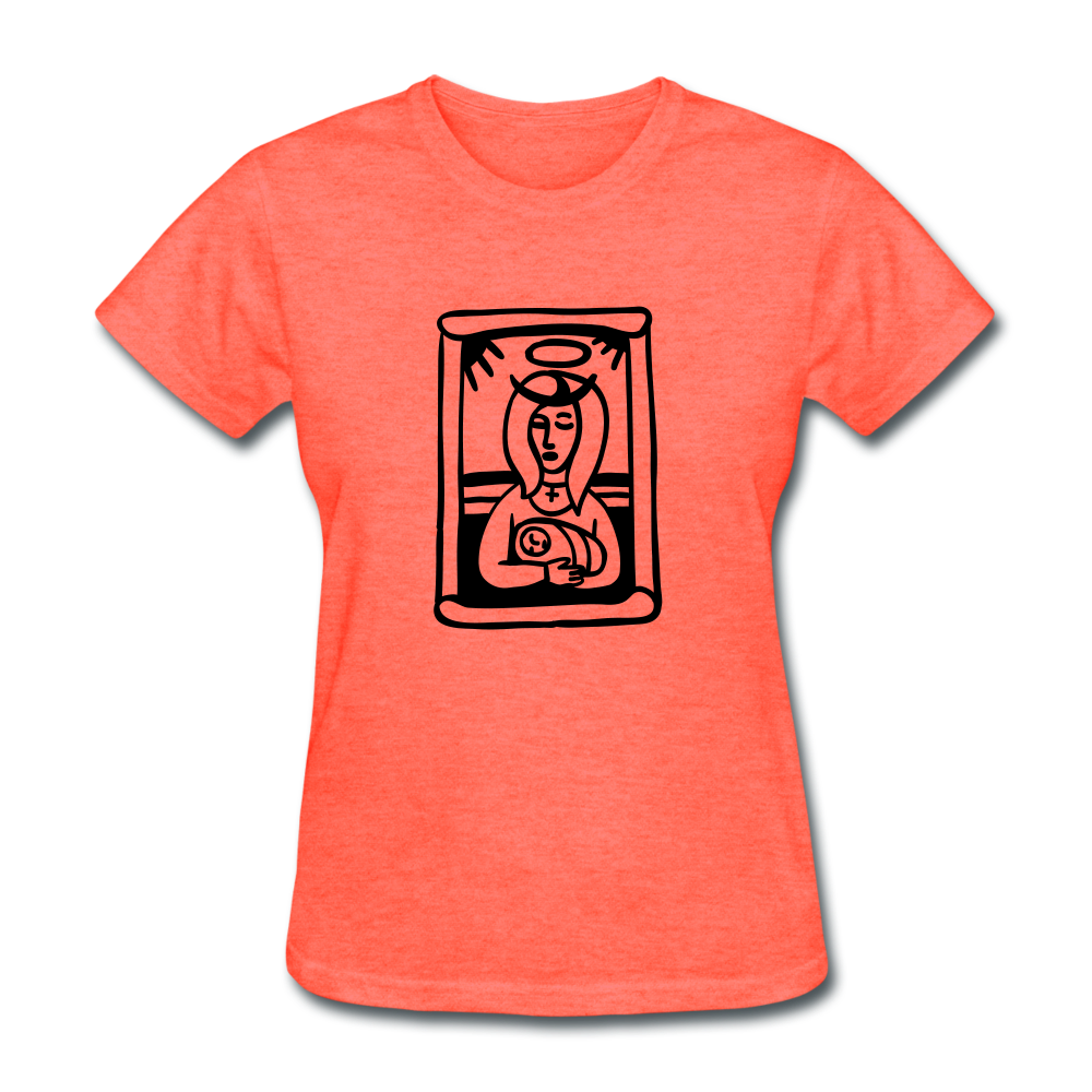 Mother Mary Women's Tee Bright Heather - heather coral
