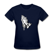 Load image into Gallery viewer, Praying Hands Women's Tee - navy