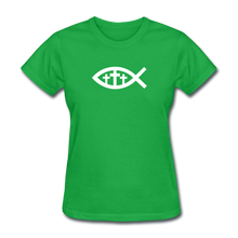 Load image into Gallery viewer, Three Crosses Women's Dark Tee - bright green
