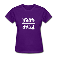 Load image into Gallery viewer, Faith over Fear Women's Dark Tee - purple