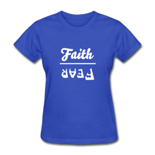 Load image into Gallery viewer, Faith over Fear Women's Dark Tee - royal blue