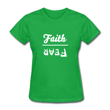 Load image into Gallery viewer, Faith over Fear Women's Dark Tee - bright green