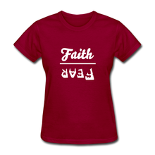 Load image into Gallery viewer, Faith over Fear Women's Dark Tee - dark red