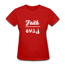 Load image into Gallery viewer, Faith over Fear Women's Dark Tee - red