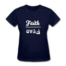 Load image into Gallery viewer, Faith over Fear Women's Dark Tee - navy