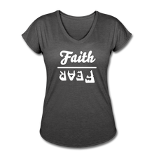 Load image into Gallery viewer, Faith Over Fear Women's Heather V-Neck Tee - deep heather