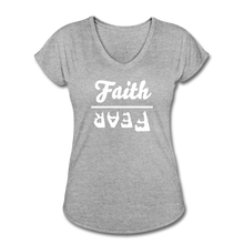 Load image into Gallery viewer, Faith Over Fear Women's Heather V-Neck Tee - heather gray