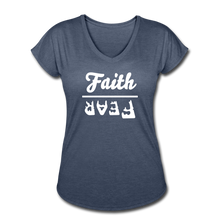 Load image into Gallery viewer, Faith Over Fear Women's Heather V-Neck Tee - navy heather