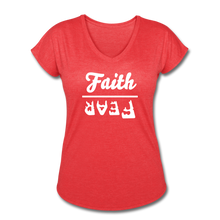 Load image into Gallery viewer, Faith Over Fear Women's Heather V-Neck Tee - heather red