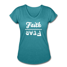 Load image into Gallery viewer, Faith Over Fear Women's Heather V-Neck Tee - heather turquoise