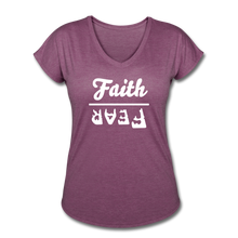 Load image into Gallery viewer, Faith Over Fear Women's Heather V-Neck Tee - heather plum